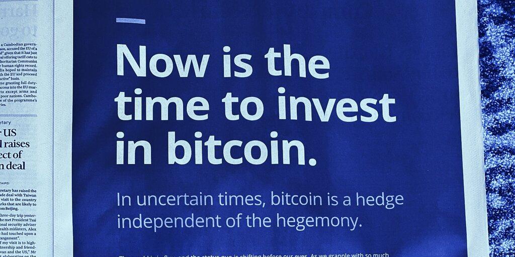 Buy Bitcoin, screams Galaxy's huge ad in the Financial Times