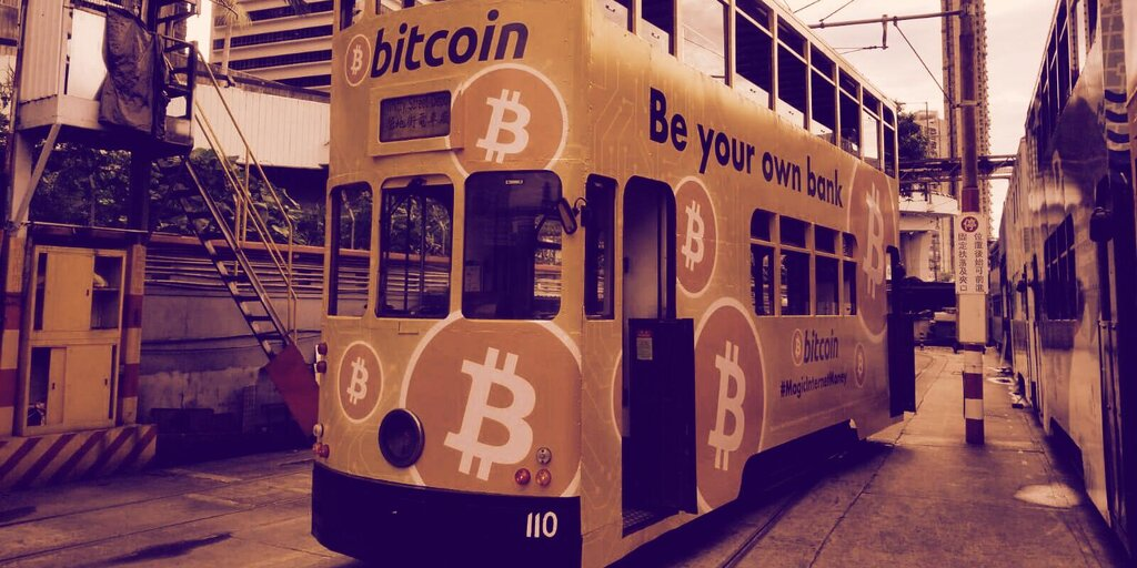Bitcoin Ads Plastered Across Hong Kong Trams and Near Banks