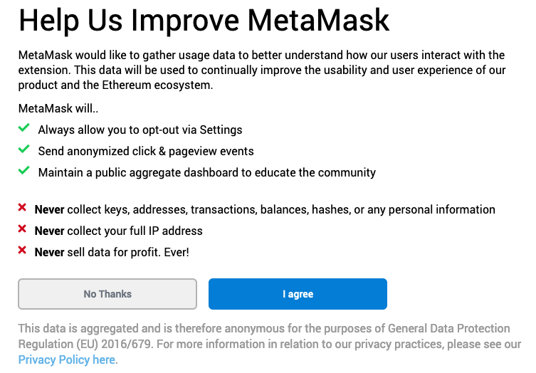 """Help us improve MetaMask"" screen"