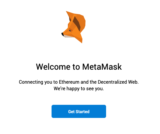 The MetaMask splash screen