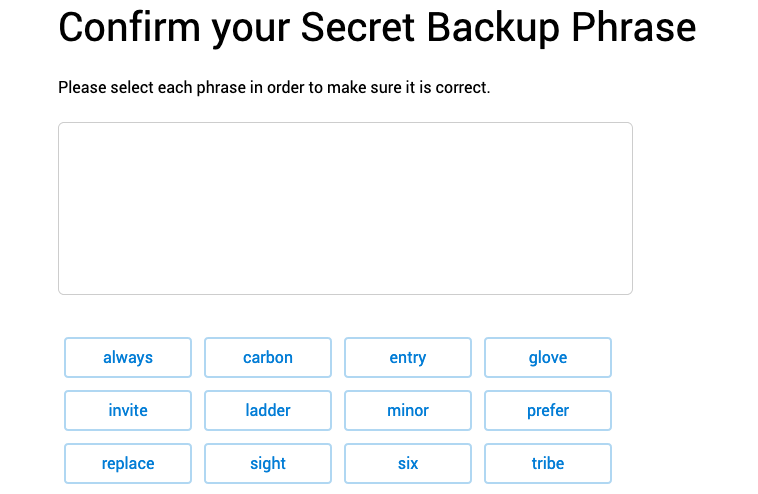 "MetaMask ""confirm backup phrase"" screen"