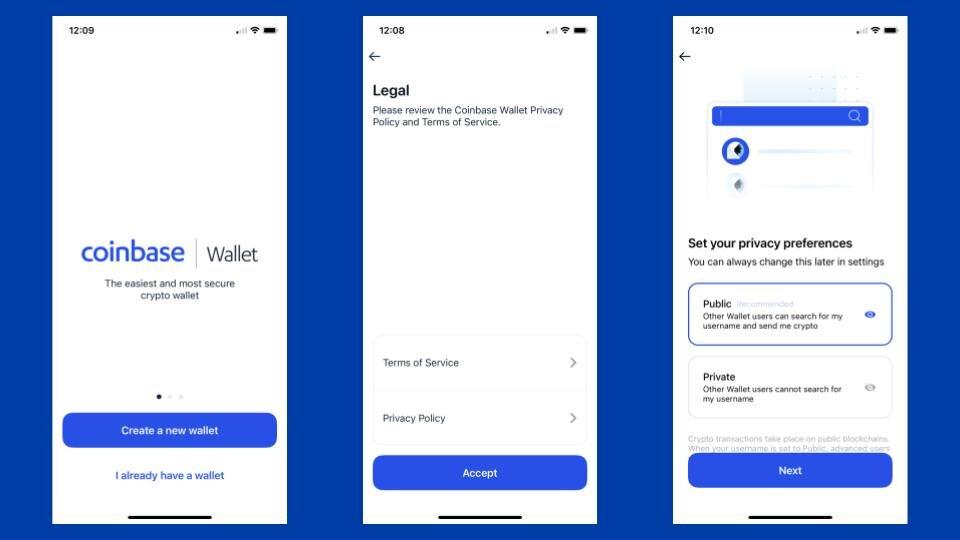 Coinbase Wallet screenshots
