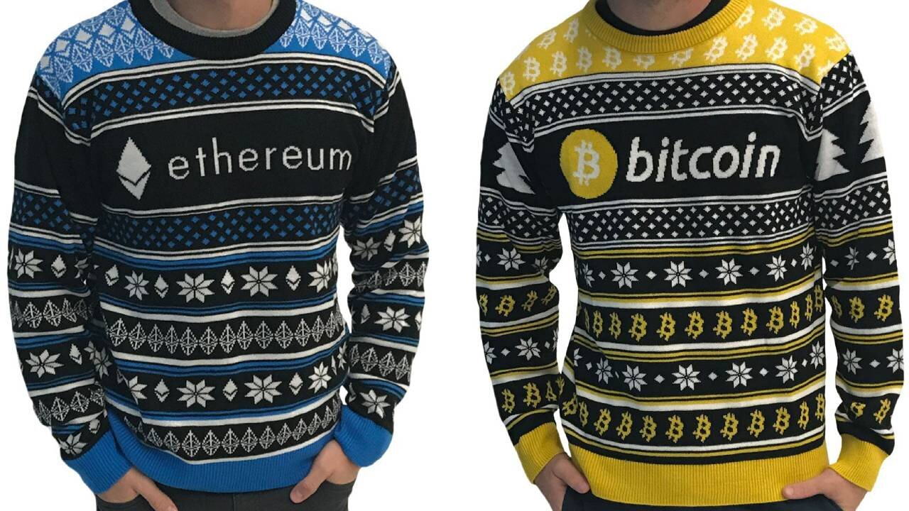 Bitcoin and Ethereum ugly Christmas sweaters