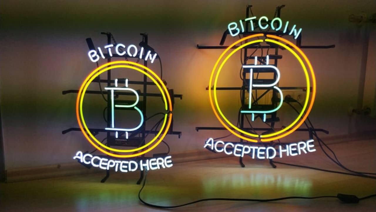 Bitcoin neon signs