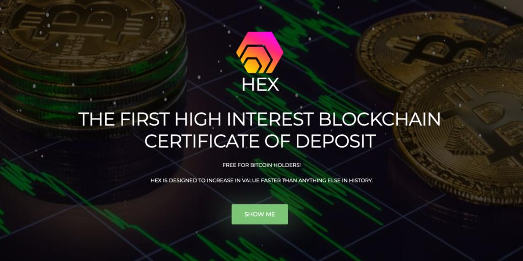 Screenshot of the HEX token website