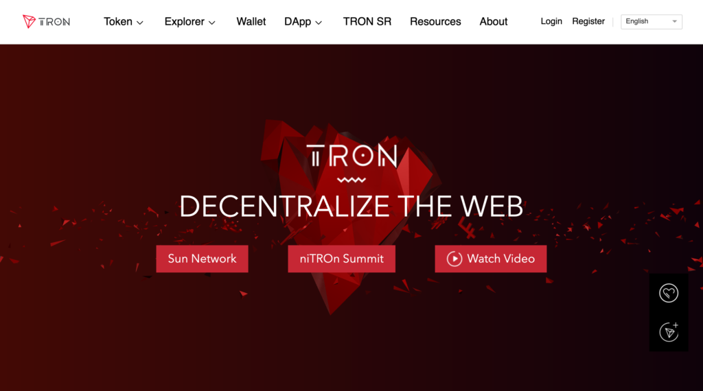 snapshot of the tron website showing uppercase text in the logo