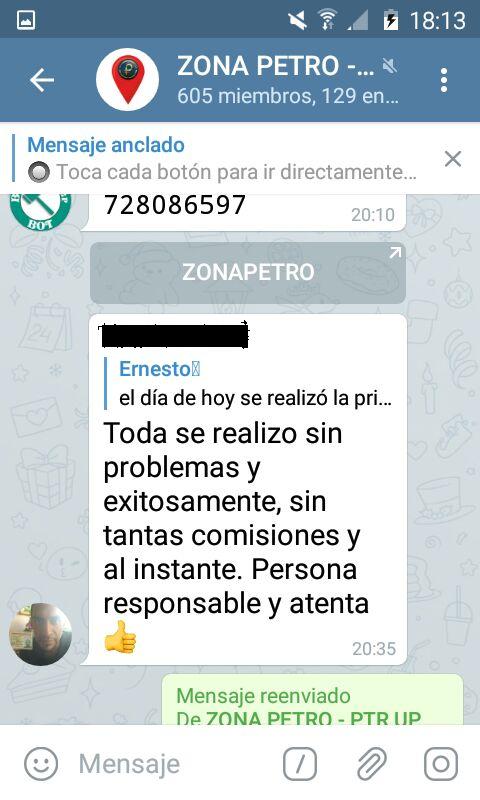 Feedback dejado por la contraparte en el grupo ZonaPetro