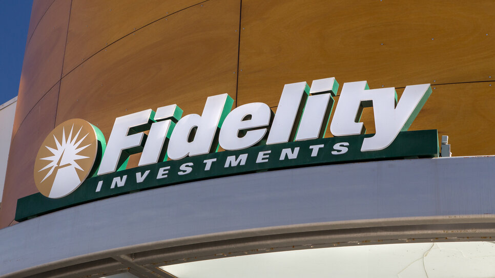 Fidelity logo on the side of a building