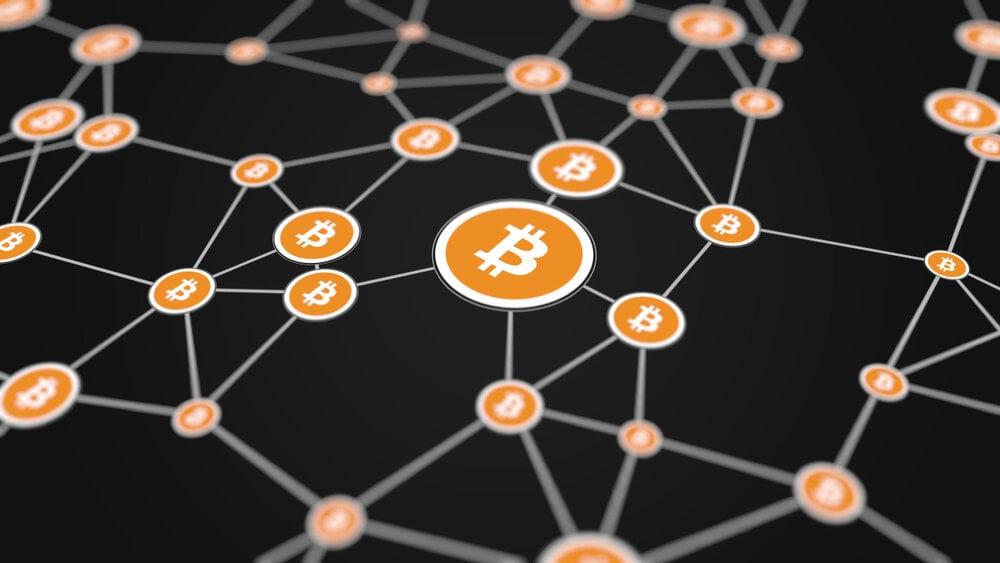 A bitcoin network showing nodes