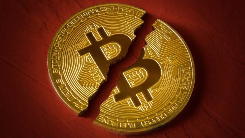 Bitcoin split in half