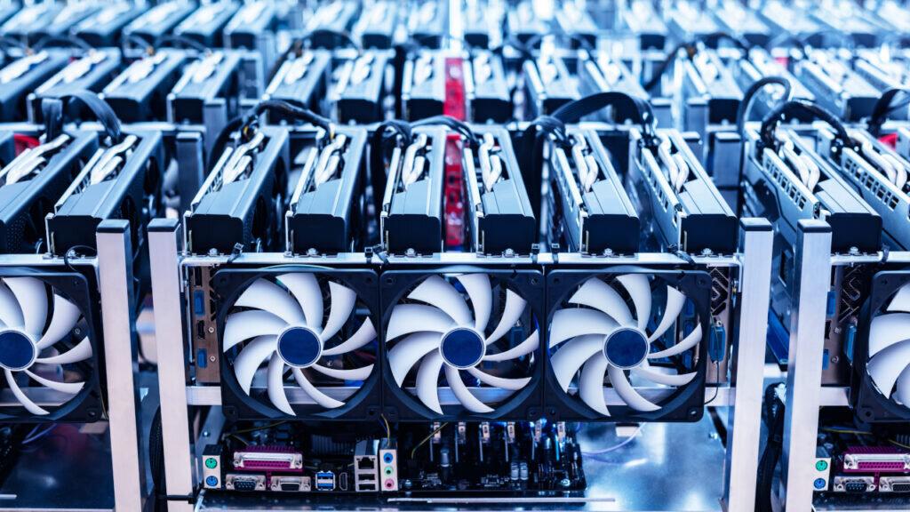 A rack of Bitcoin mining machines
