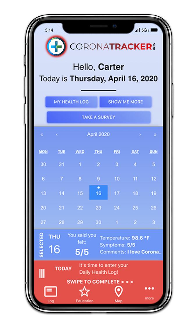 A screenshot of the CoronaTracker app. Image: CoronaTracker