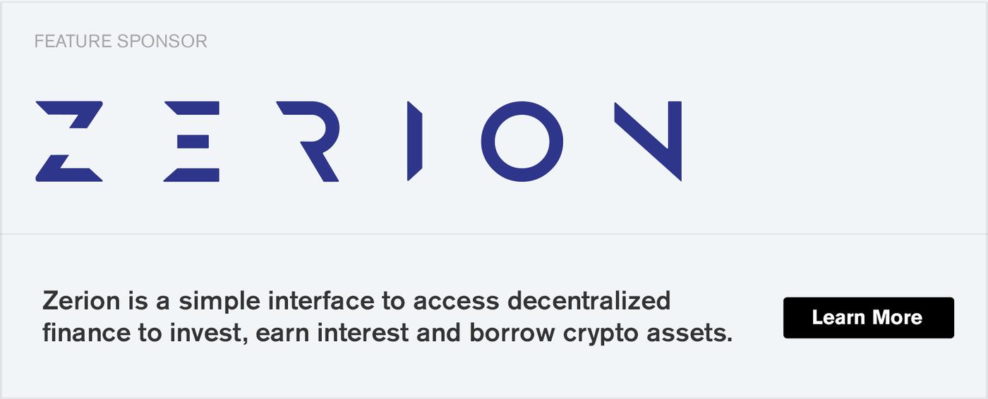 Ethereal 4 sponsor advert for Zerion