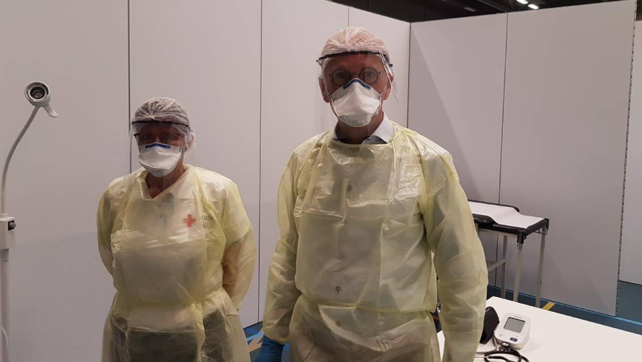 A coronavirus triage team wearing 3D printed PPE