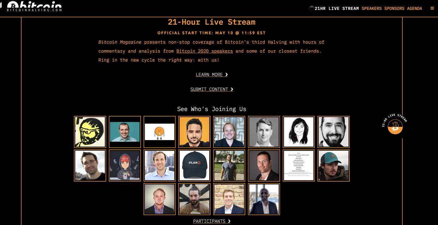 Bitcoin halving stream