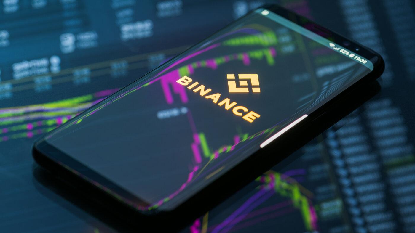 Binance mobile app on running on smartphone