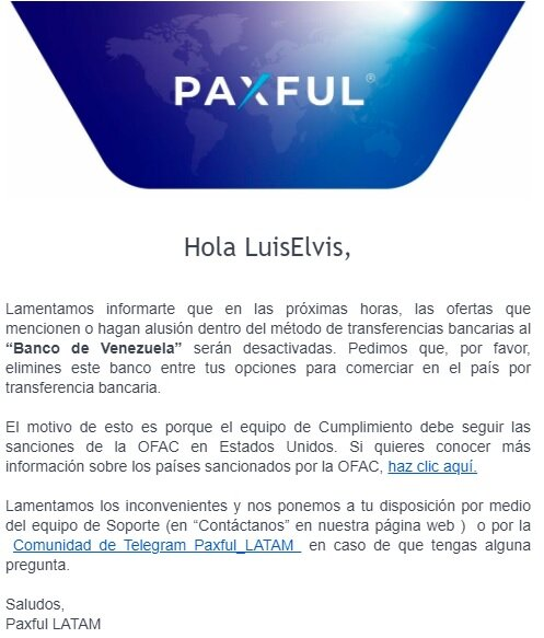 Screenshot of the email sent by Paxful to one of its Venezuelan customers.