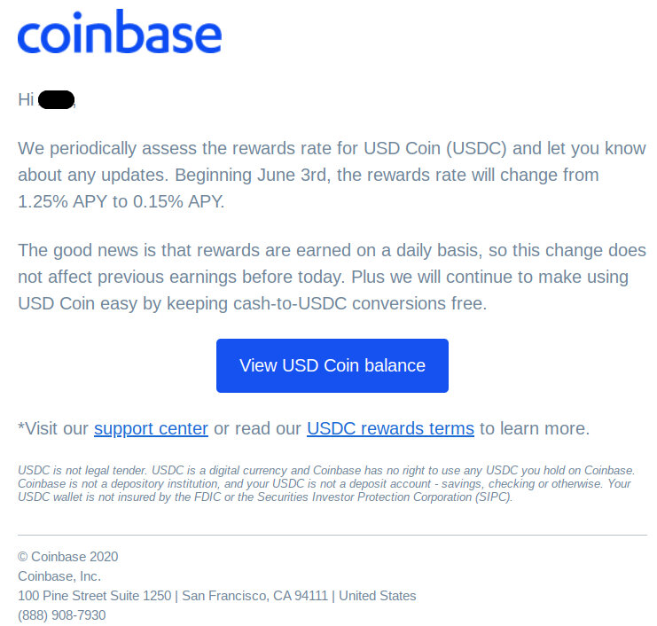 Coinbase reduces USDC rewards