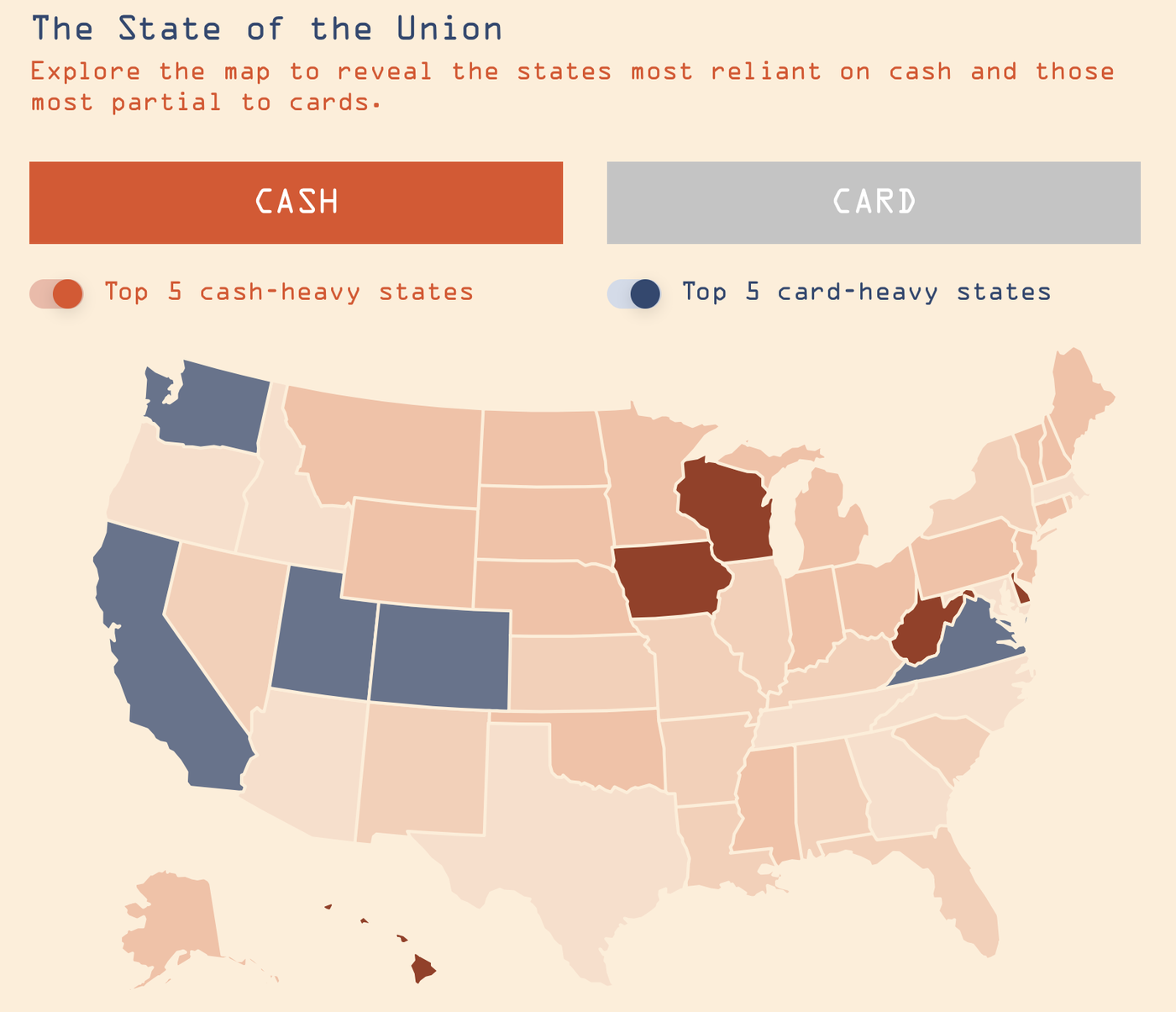 US map - Cash vs card