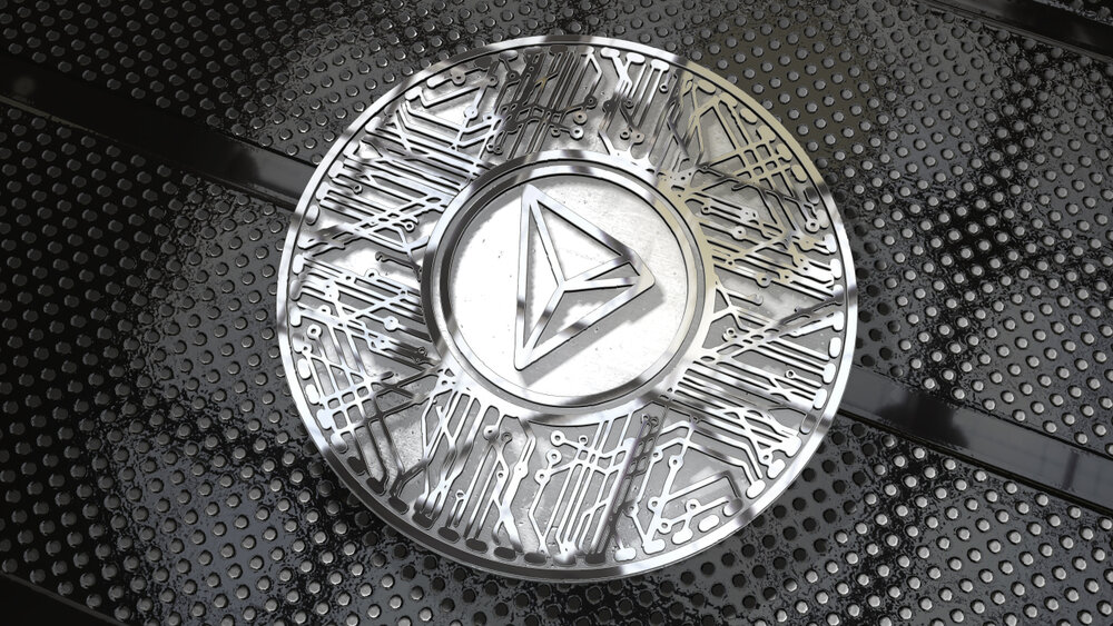 Tron coin on a black background