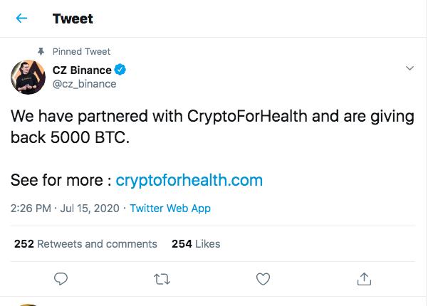 "Binance CEO's tweet promoting the ""CryptoForHealth"" scam. Source: Twitter"