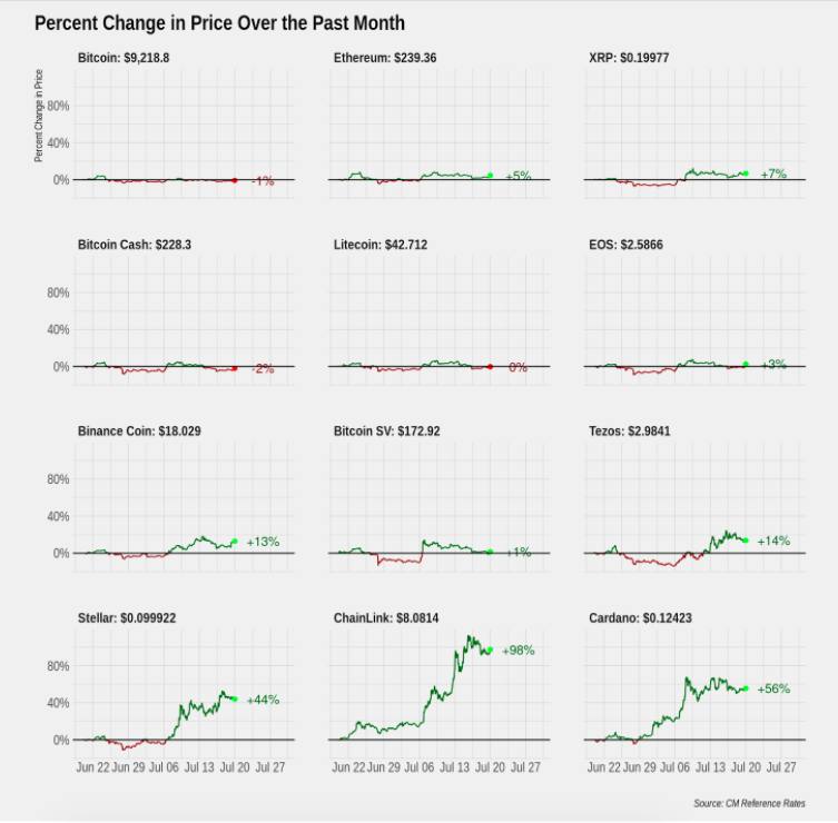 Percent change in the price of cryptocurrencies over the past month