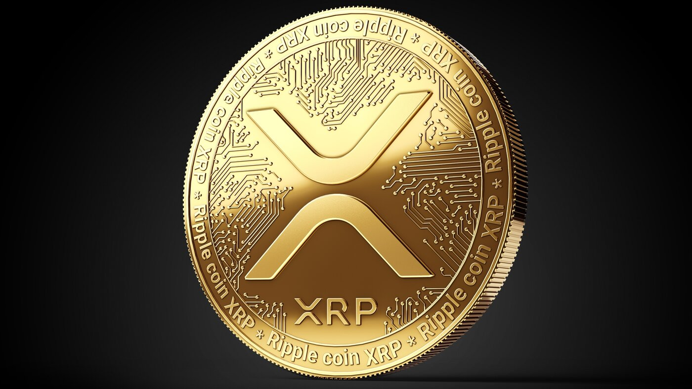 XRP coin on black background