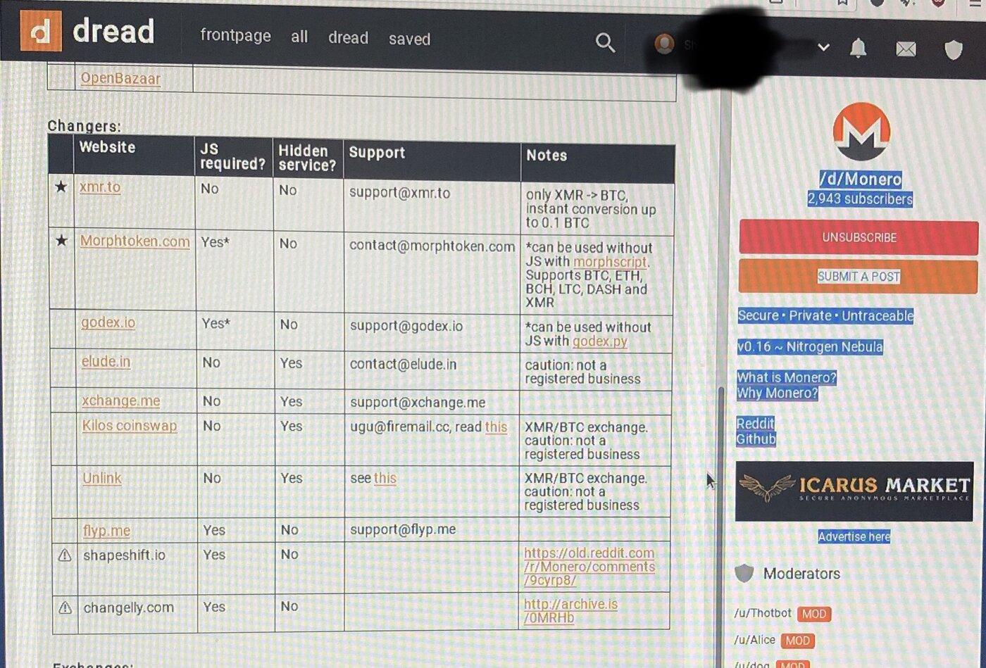 A screenshot of the Dread darknet community forum