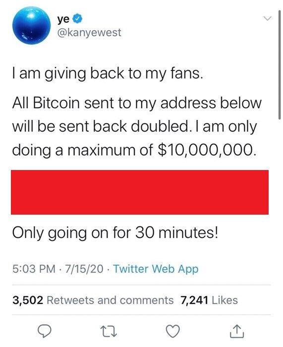 Screenshot of Kanye West tweet