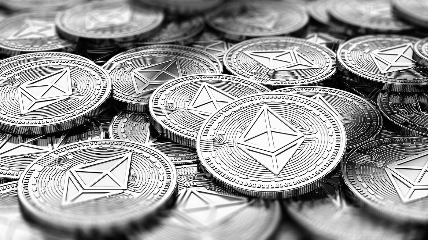 Pile of ETH coins