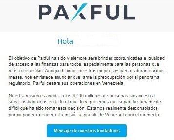 Extracto del mensaje de Paxful a los usuarios de Venezuela.
