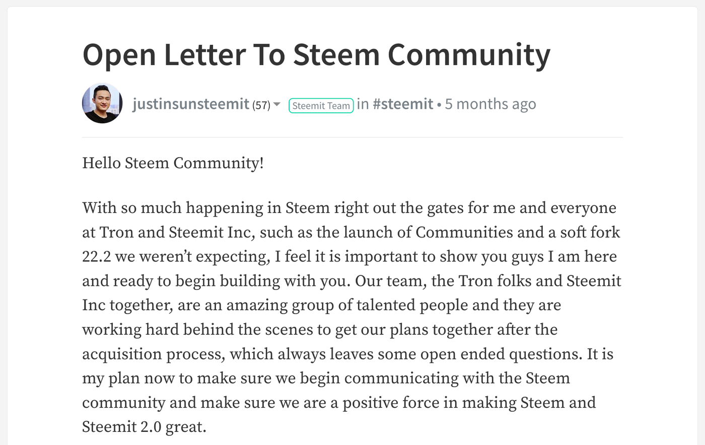 Sun's letter on Steemit