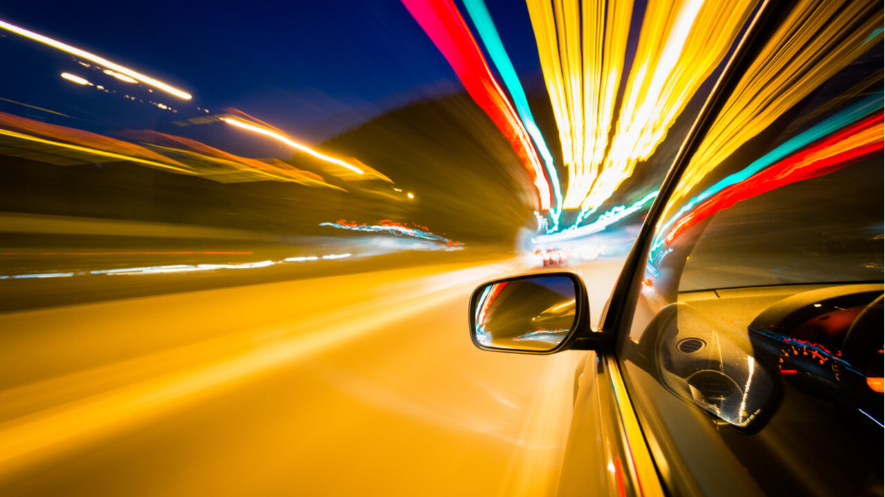 Car moving fast time lapse photography