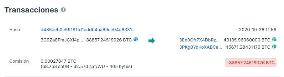 Las dos transacciones de Bitcoin