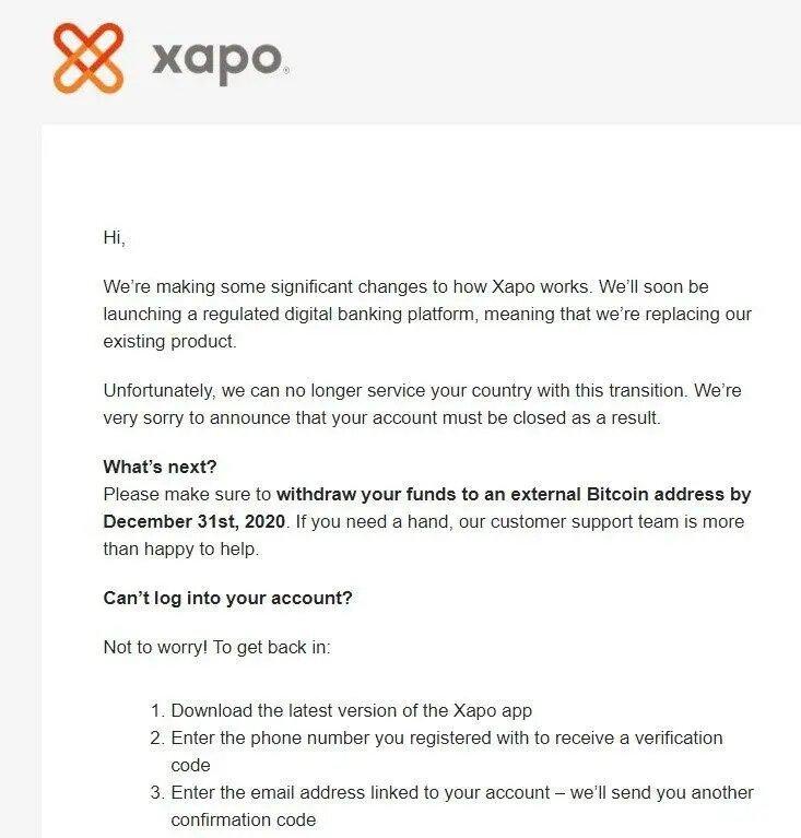 Captura del mensaje de Xapo a clientes de Venezuela