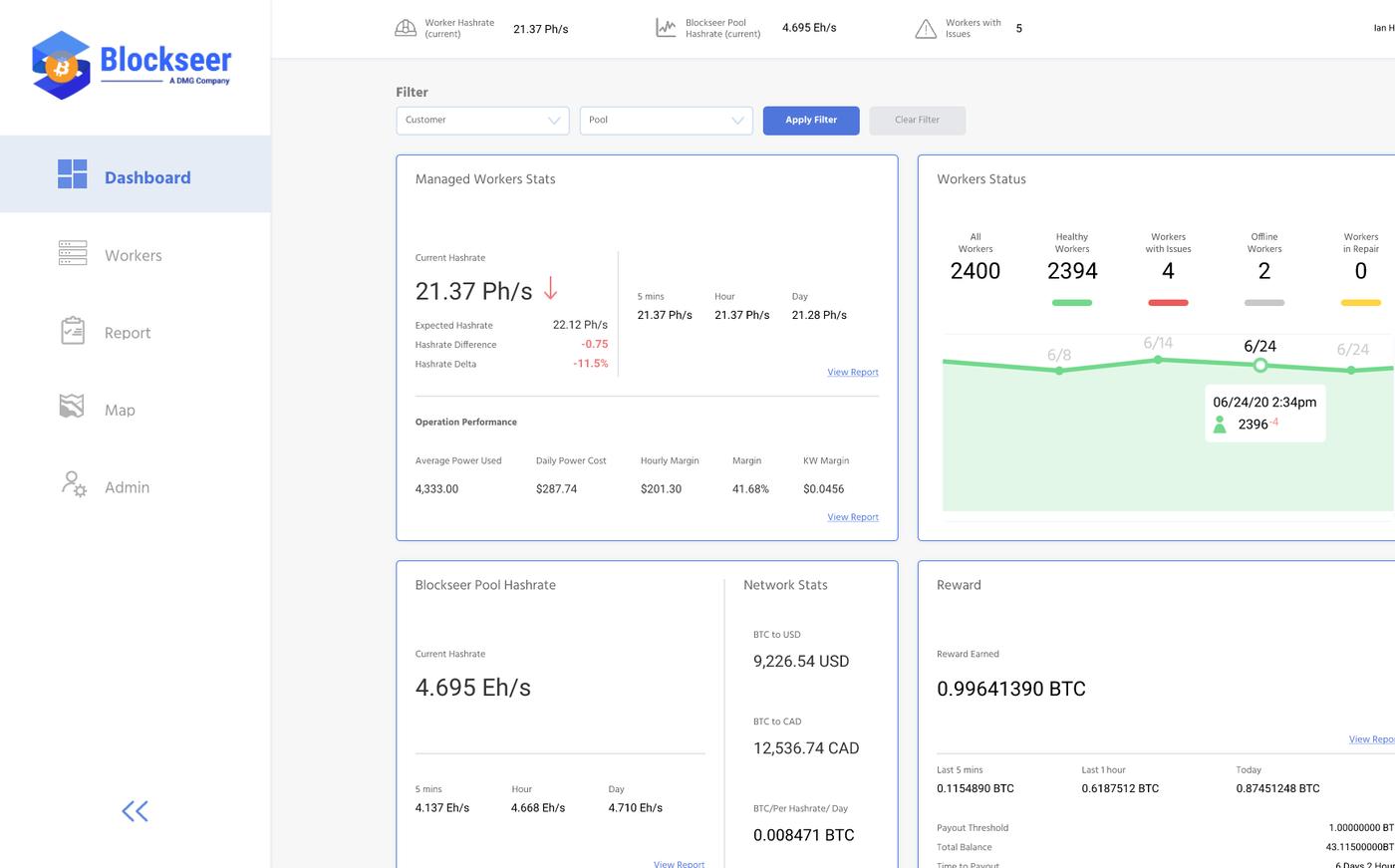 interfaz de pool de minería de bitcoin blockseer