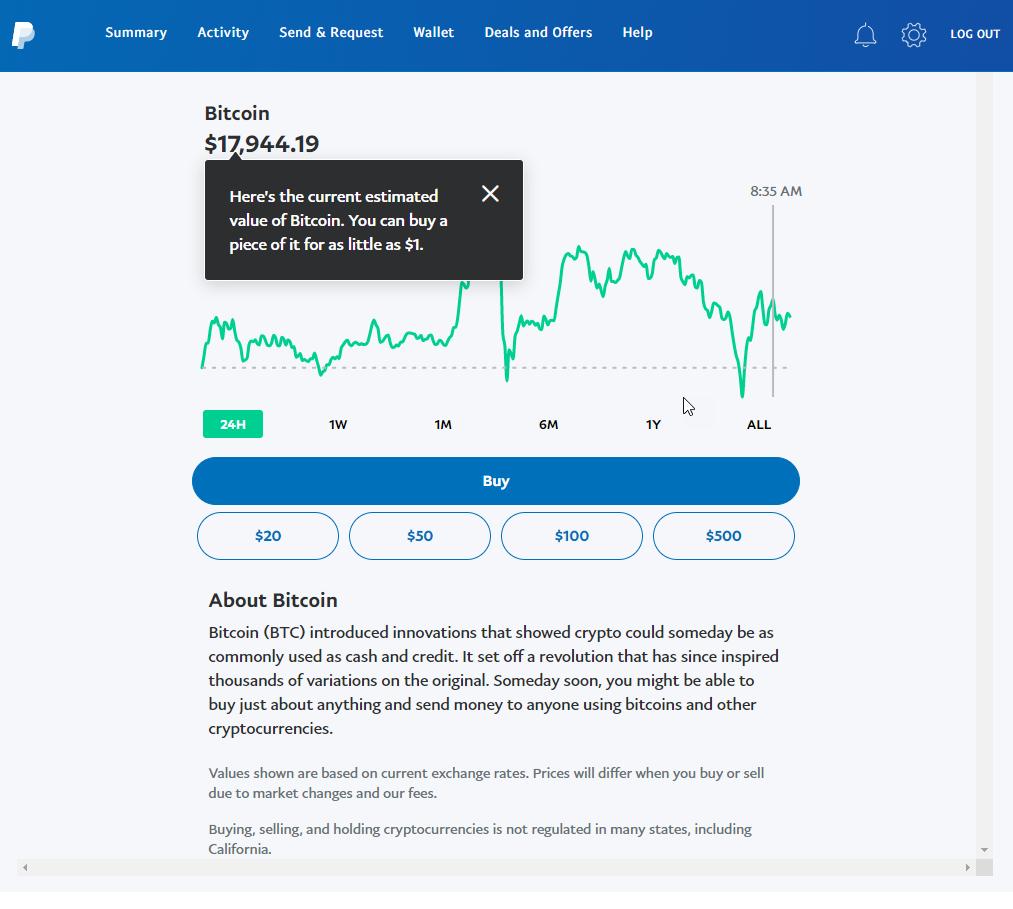 Capture d'écran PayPal montrant le prix actuel du Bitcoin
