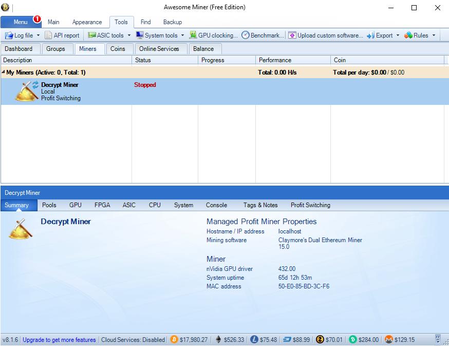 Awesome Miner menu screen