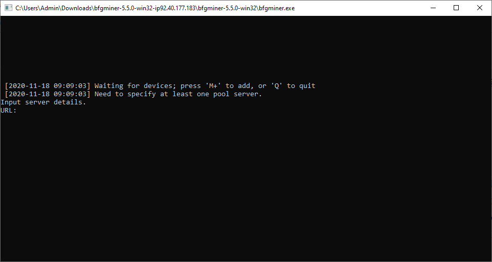 BFGMiner command line interface
