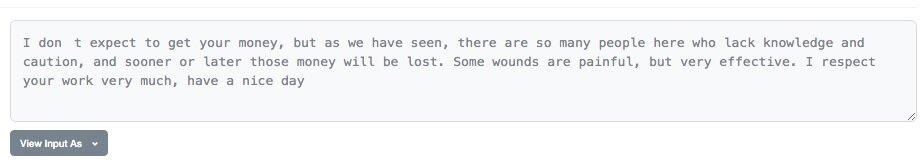El hacker de Value DeFi envió un mensaje a una de las presuntas víctimas. Imagen: Etherscan