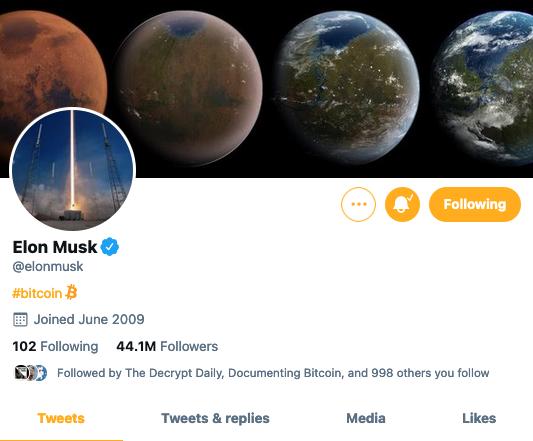 Elon Musk ha cambiado su biografía de Twitter esta mañana para decir: #Bitcoin. Imagen: Twitter.