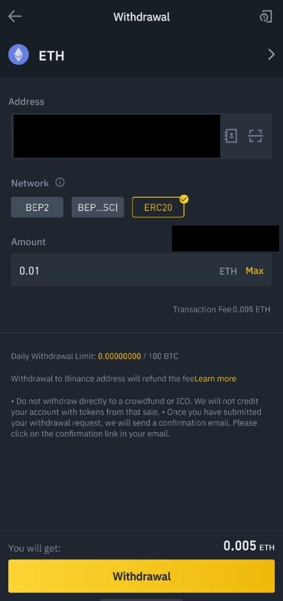 Binance withdrawal screenshot