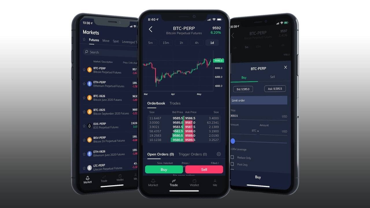 Three smartphones displaying FTX app