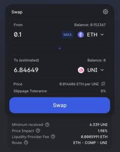 Uniswap screenshot