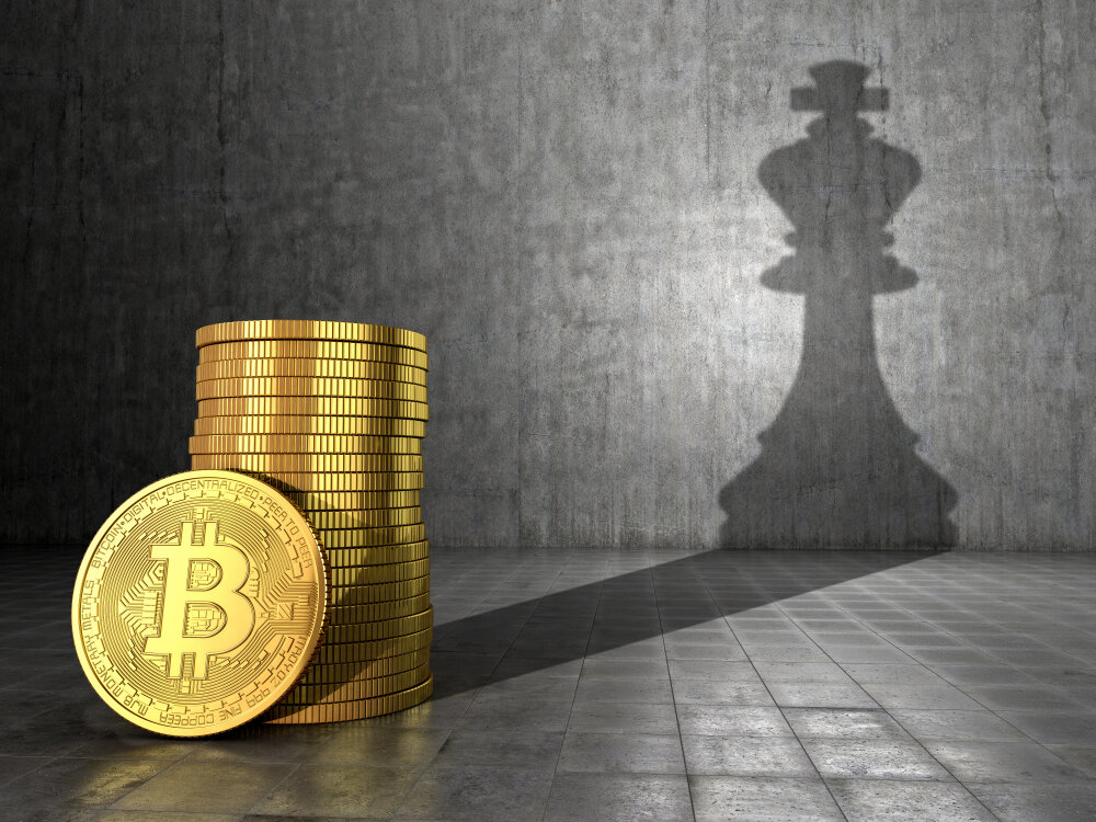 Bitcoin and chess piece