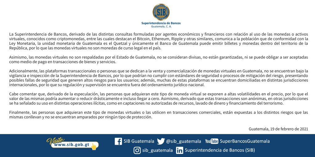 Advertencia del Banco Central de Guatemala sobre el uso de criptomonedas