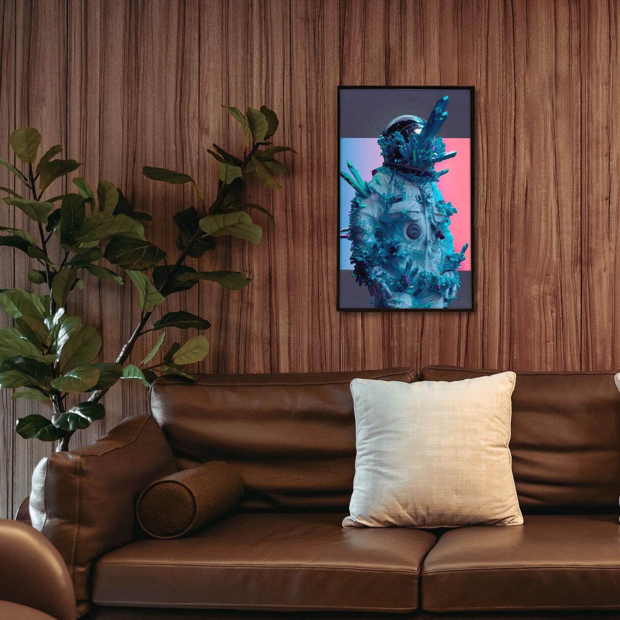 A Qonos frame above a sofa