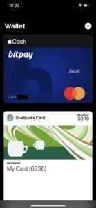 BitPay Apple Wallet screenshot