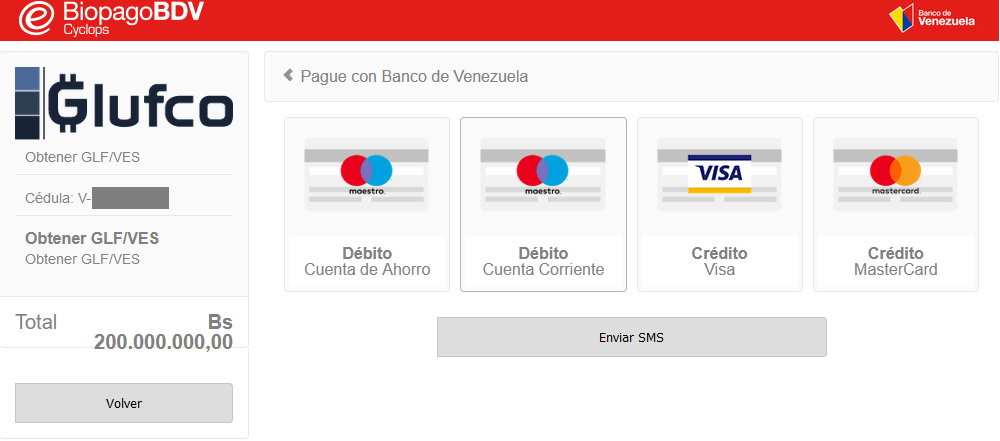 Screenshot of the new Payment System developed by Glufco and Banco de Venezuela