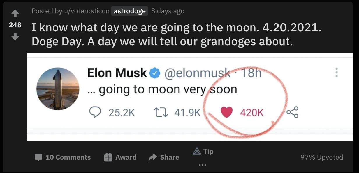 Elon Musk tweet about Doge shared on reddit